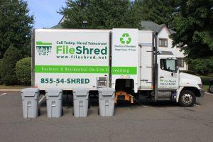 shredding truck with shred bins
